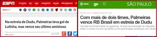 ... ele esteve em destaque no cenário do futebol brasileiro foi em 2015. E  o primeiro jogo que o clube disputou em 2015 foi um amistoso contra o  Palmeiras. c53ab3e1699