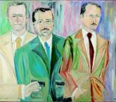 O retrato de Décio de Almeida Prado, Lourival Gomes Machado e Alfredo Mesquita, feito por Luis Bueno D'Horta em 1981, faz parte da seleção da mostra