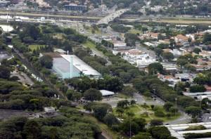 Vista aérea das instalações físicas da EEFE, em foto de 2007 do Jornal da USP, ainda sem o novo prédio. Foto: Jorge Maruta