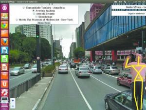 Imagem do aplicativo GestureMaps, em desenvolvimento na Ufscar, que permite o controle do GoogleMaps através de gestos
