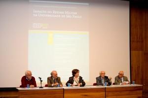 """Goldemberg durante o evento """"Impacto do Regime Militar na USP"""", ocorrido em outubro"""