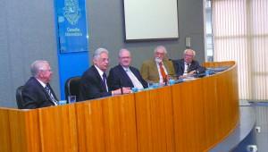 Da esquerda para a direita: Eduardo Moacyr Krieger, Fernando Henrique Cardoso, Marco Antonio Zago e Celso Lafer