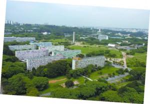 Crusp sendo construído na década de 60 (à esquerda) e a moradia estudantil já concluída
