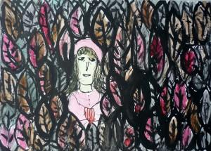 Representação criada por Katia Canton sobre a história de Chapeuzinho Vermelho. A artista se distancia das adaptações infantis para buscar o real significado dos contos de fadas