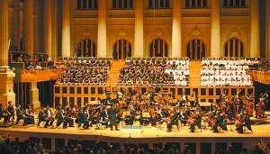 Apresentação da  Orquestra Sinfônica da USP (OSUSP) e do Coral da USP (CoralUSP) no lançamento do selo comemorativo
