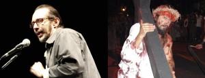 O ator e diretor Mário Pazini faleceu em 31 de março. À direita em cena na peça A Paixão de Cristo.